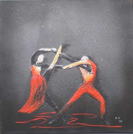 Tanzendes Paar in Schwarz/Rot