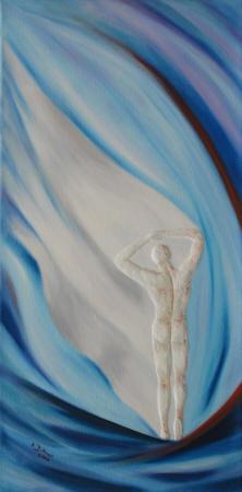 Tanzender Mann in Blau/Weiß