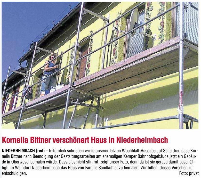 Presse: Hauswandgestaltung in Niederheimbach, 8/2013 – Kornelia Bittner